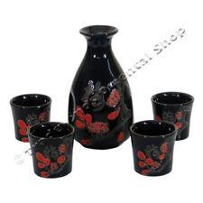 JAPANESE PORCELAIN SAKE SET - BLACK FLORAL PATTERN DESIGN