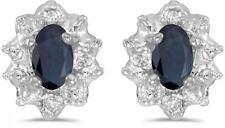 10k White Gold Oval Sapphire & Diamond Earrings E911W-09