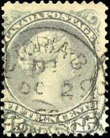 1868-76 Used Canada VICTORIA 186_ CANCEL VG Scott #30 15c Large Queen Stamp