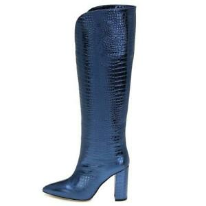 Sexy Women Ladies Western Biker High Heel Pointy Toe Knee High Boots Clubwear L