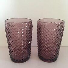 Set Of 2 Amethyst Purple Drinking Glasses Tumblers Textured