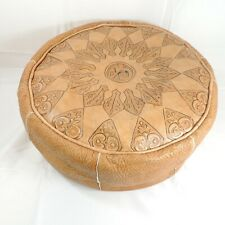 """Moroccan Pouf Tan Camel Leather Hassack Ottoman or Seat Round 22"""" Small Tear"""