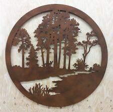 Tree WALL ART Rust Finish Laser Cut 98cm rd  Metal Cutout Picture NEW FREE POST