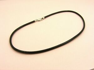 ~Custom Made~925 STERLING SILVER 2.5MM Round Black LEATHER Choker Cord NECKLACE