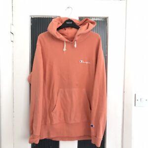 Champion Reverse Weave Coral Orange Hoodie Men's Medium pastel