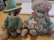 Calico Kittens Enesco Fishing For Good Luck, Blossoms Of Friendship