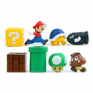 8pcs Super Mario Bros Figures Yoshi Luigi Goomba Mini Figures Playset Kids FF