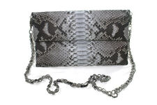 GENUINE PYTHON SNAKESKIN LEATHER WOMEN FOLDOVER ENVELOPE CLUTCH BAG WITH CHAIN
