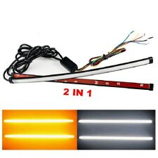 Pair Universal Switchback Flowing Car DRL LED Knight Rider Light Strip Tube 2in1
