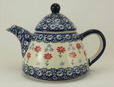 Bunzlauer Keramik Teekanne spitz, Kanne für 0,9Ltr. Tee, mit Blumen (C005-P232)