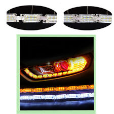 One Pair 12V Dual Color Tearful Eyes LED Turn Signal Daytime Running Lights Lamp