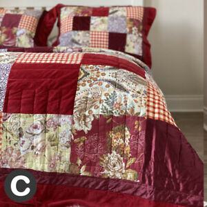 Luxury Cotton Velvet Burgundy Red Real Patchwork Quilt Bedspread Traditional