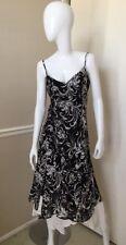 Wallis NEW! Black/Ivory Floral Spaghetti Strap Flowy Maxi Dress Sz 10 NWOT!