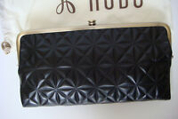 Hobo International Lauren Black Embossed Double Snap Kiss Lock Wallet Clutch new