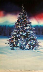 100% Cotton Fabric Panel  'Alaglow' Christmas Tree Scene - L 112 cm x W 60 cm