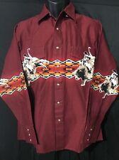 WRANGLER Cowboy Western Aztec Rodeo PEARL SNAP Shirt MEDIUM M Horses NWOT button