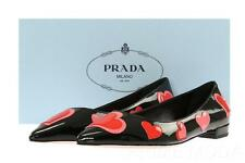 NEW PRADA BLACK PATENT LEATHER HEARTS EMBROID  BALLET FLATS SHOES 38/US 8