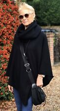 Cashmere Poncho Black Cape Wrap One Size Fits All UK