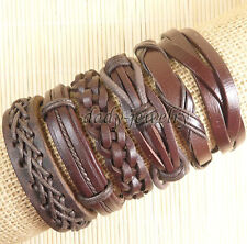 6pc European style Punk Simple Fashion Vintage leather bracelet,Men Bracelet-D86