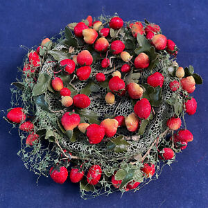 Vintage Pasadena Hats Green Net Red Strawberry Fruit Novelty Cocktail Pillbox