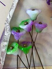 Glass Flower Stamen,Vintage Glass Flower Stems, Flower Headpins,Stamens #930A
