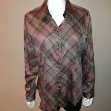 Foxcroft Fitted Shirt Size 16 Womens Button Up Blouse Polka Dot Top Long Sleeve