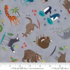 Moda Fabric~Hello World ~1/2 Yard~Abi Hall~Wild Things~Grey~35301 19~100% Cotton
