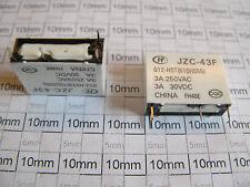 1x micro relay JZC-43F-012-HST, 12V coil, 250V 3A contact, SPST-NO, EU seller