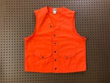 MENS XL - Vtg C.C. Filson Orange Hunting Snap Vest USA