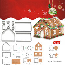 10Pcs/Set 3D Stainless Steel Gingerbread House Cookie Cutters Cake Baking Tools