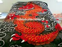 NEW!! QUEEN KOREAN style MINK blanket CHINESE DRAGON black NEW GTC