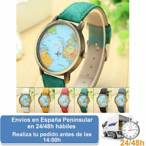 Reloj mapa mundial avión unisex World Traveler regalo ideal (envío express)