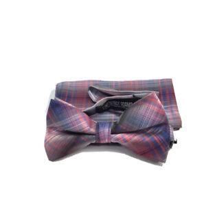 Stacy Adams Men's Bow Tie Hanky Set Fuchsia Blue Gray 100% Microfiber Ready Tied