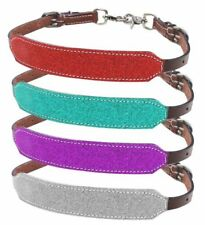 Showman Horse Size Glitter Overlay Leather Contest Wither Strap 2 Trigger Snaps