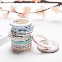 Decorative Washi Paper Tape Roll Masking Adhesive Sticky Scrapbooking Sticker