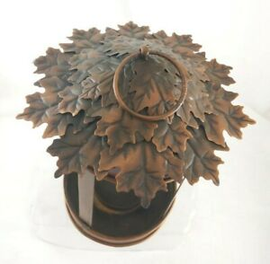 """Bronze Color Metal Autumn Leaf Candle Lantern 11"""" Tall 6.25"""" Wide"""