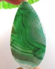 99.18Ct 63x32x6mm Green Striped Agate Pendant CAB Wire Wrap/Jewelry Making