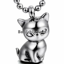 "Silver Stainless Steel Men's Womens Cute Kitty Cat Pendant Necklace 22"" Chain"