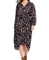 Fraiche By J Long Sleeve Hi-Lo Shift Dress In Multi Floral Print Size 1X
