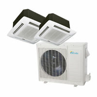 27000 BTU Dual Zone Ductless Mini Split Air Conditioner - Ceiling Cassette