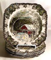 "6 Johnson Brothers Friendly Village 7 1/2"" Square Salad Plates"