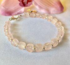 Hecho a mano Original Piedras Preciosas Joyería, pulsera de cuarzo rosa.