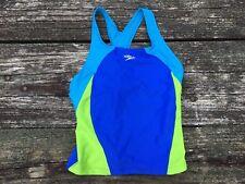 Speedo Girls Swim Racerback Tankini Top Size 14 Child Blue Lime Green Aqua