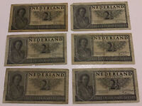 Lot Of 6 X Netherlands Banknotes. 2 1/2 Gulden. Dated 1949. P73.