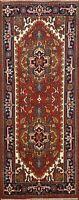 3x6 Indo Heriz Geometric Hand-knotted Oriental Runner Rug Wool Home Decor Carpet