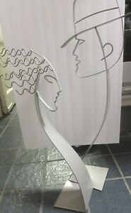 2 Signed C. Jere Kinetic Sculptures 1 Man, 1 Woman, 32, 26 Inches Tall Rockin!