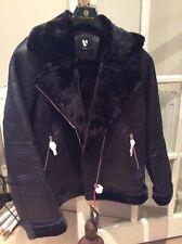 Women Faux Shearling Aviator Jacket - Black Size UK 14 By Very