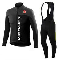 Black Men's Cycling Bib Kit Long Sleeve Cycle Jersey Bib Pants Tights Set S-5XL