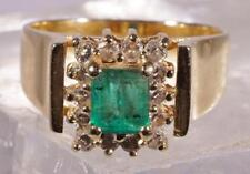 Emerald Cut Emerald Ring w/ Halo Diamond Accents 14 K Size 7.25