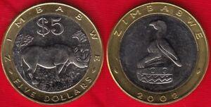 Zimbabwe 5 dollars 2002 km#13 BiMetallic UNC